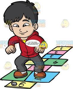 A Jolly Boy Playing Hopscotch.