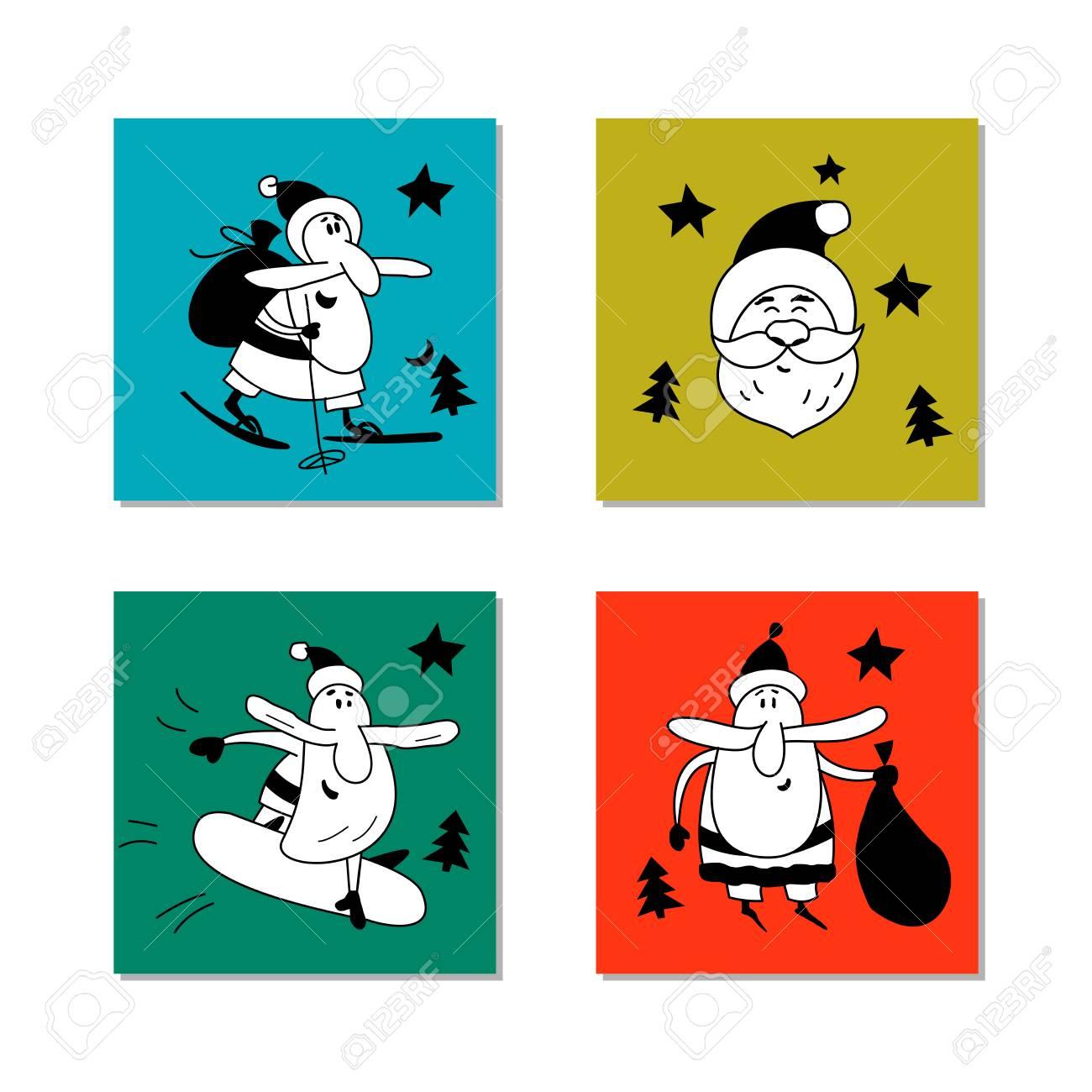 Set of vector Christmas clipart. Jolly Santa Claus hand drawn.