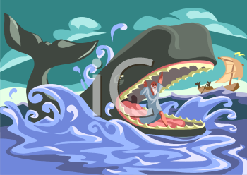 Royalty Free Clipart Image: Jonah Inside the Whale's Mouth.