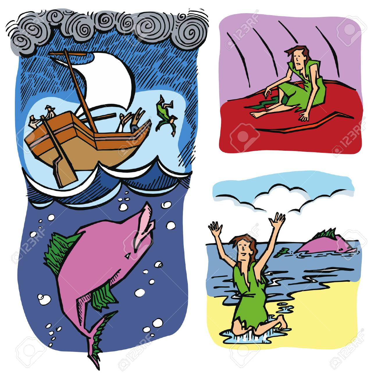 Jonah And The Whale. Royalty Free Cliparts, Vectors, And Stock.