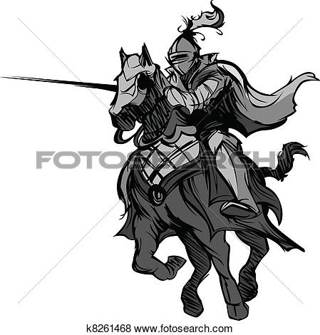 Jousting Knight Mascot on Horse Clip Art.