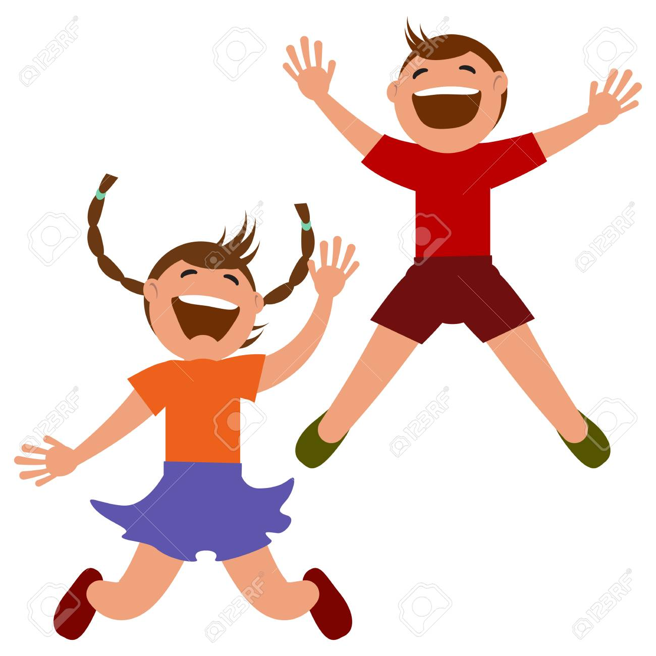 Set of kids jumping with joy. » Clipart Station.