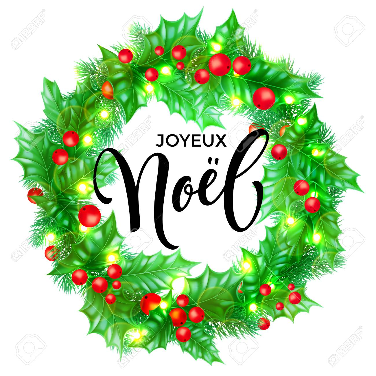 Joyeux Noel French Merry Christmas hand drawn quote calligraphy...