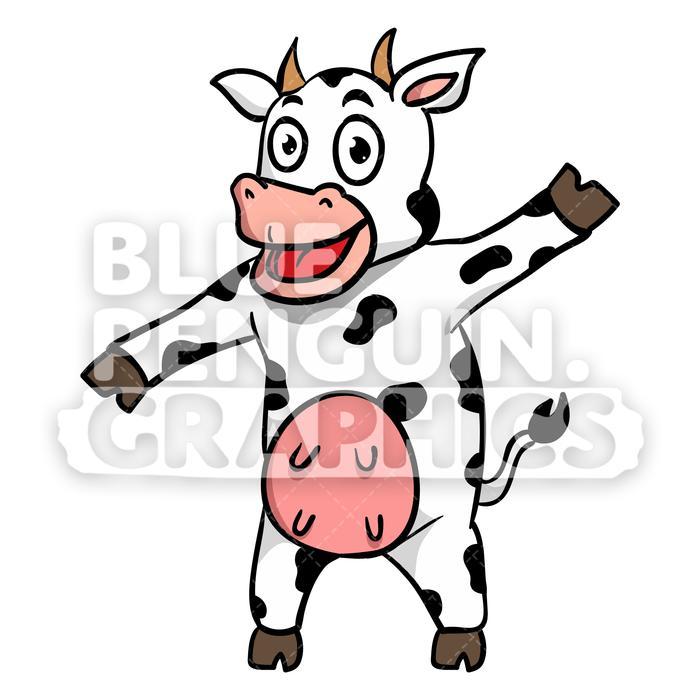 Cow Joyful Vector Cartoon Clipart Illustration.