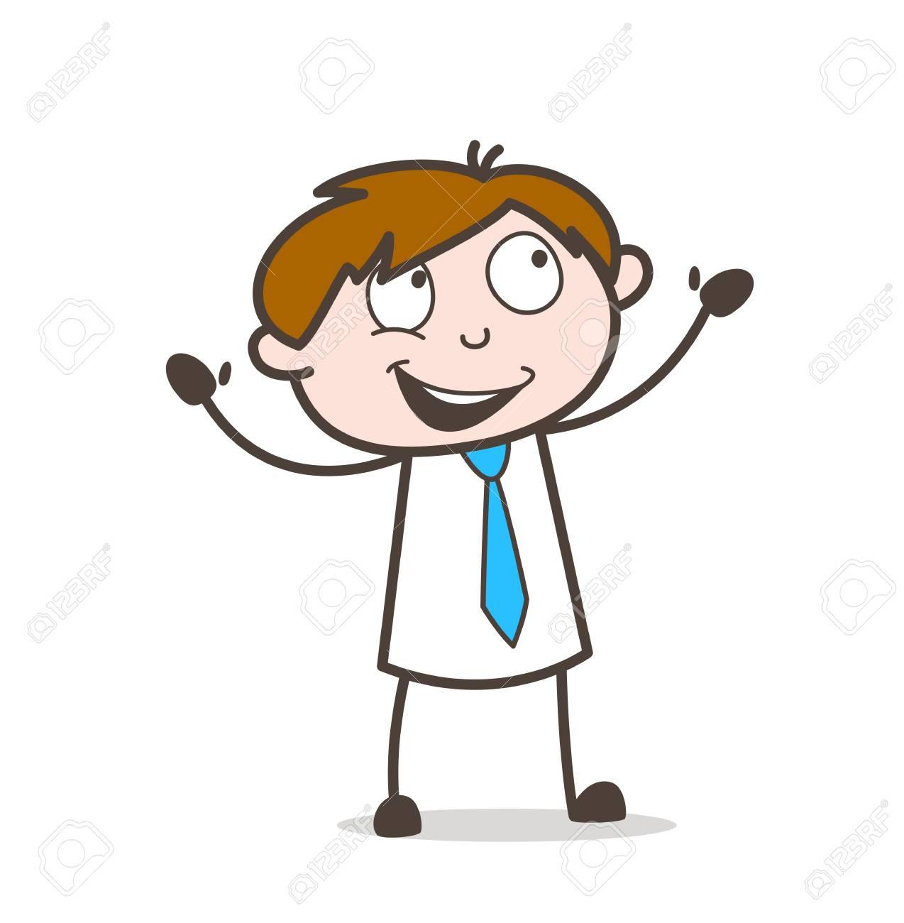 Joyful Cartoon Salesman.