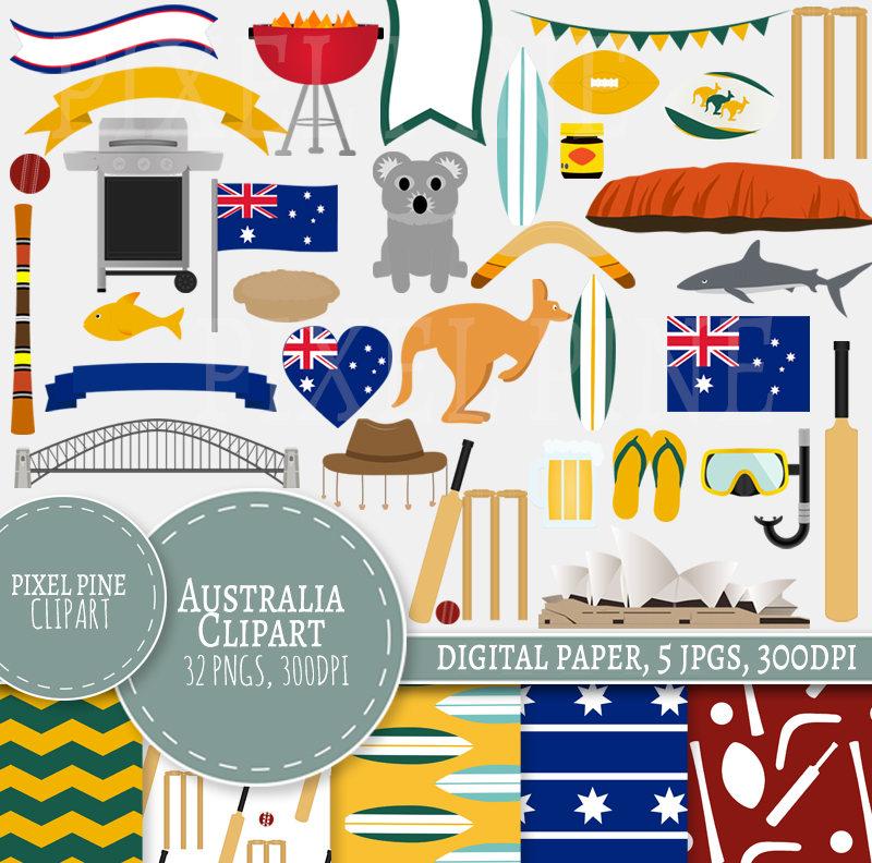 Australia Clipart, Aussie themed clipart, 33 PNGs, 5 Aussie Digital Paper  JPGs.