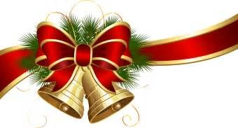 Transparent Christmas Bells with Red Bow Clipart.