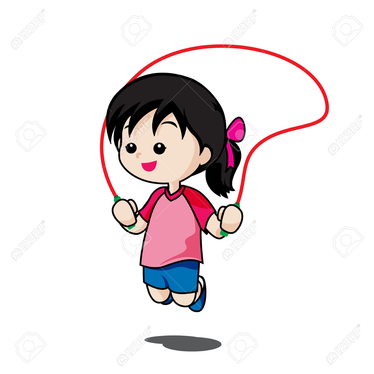 Cute Little Girl Playing Jump Rope Isolated On White Background.