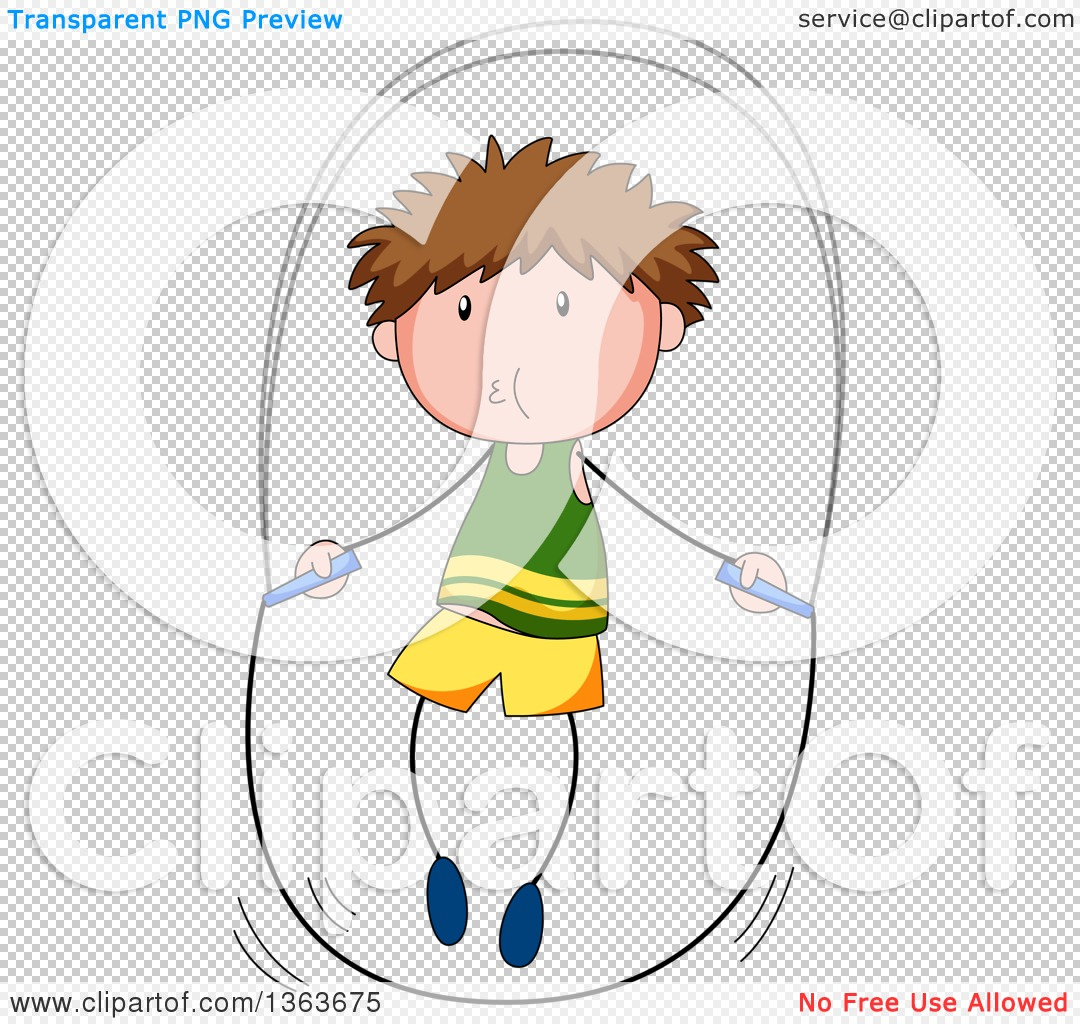 Clipart of a White Boy Exercising with a Jump Rope.