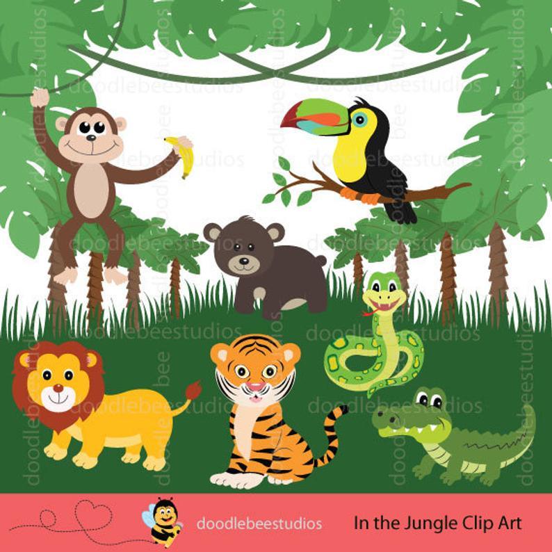 Jungle Animals Clipart, Jungle Friends Clip Art, Safari Animals, Animal  Clipart, Animals Clipart, Jungle Clip Art, Safari Clipart.