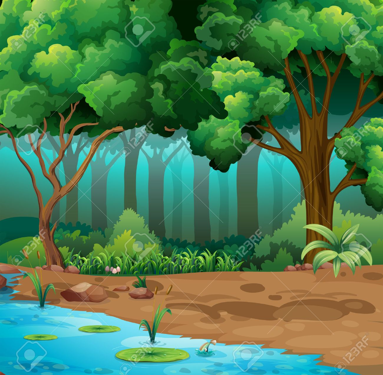 River run through the jungle illustration.