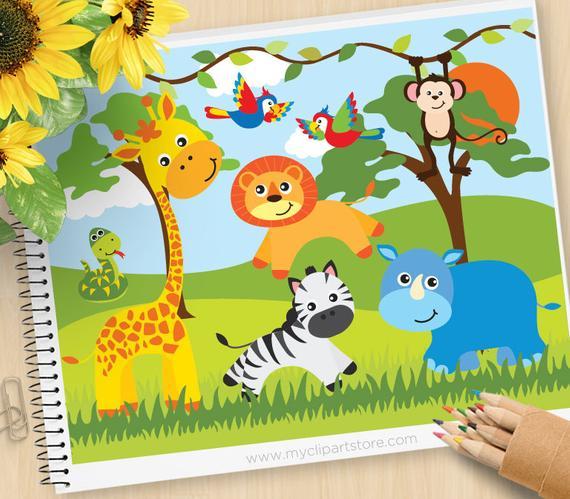 Safari Animals Clipart, Jungle, giraffe, snake, parrots, monkey, rhino,  lion, zebra, Commercial Use, Vector clip art, SVG Files.