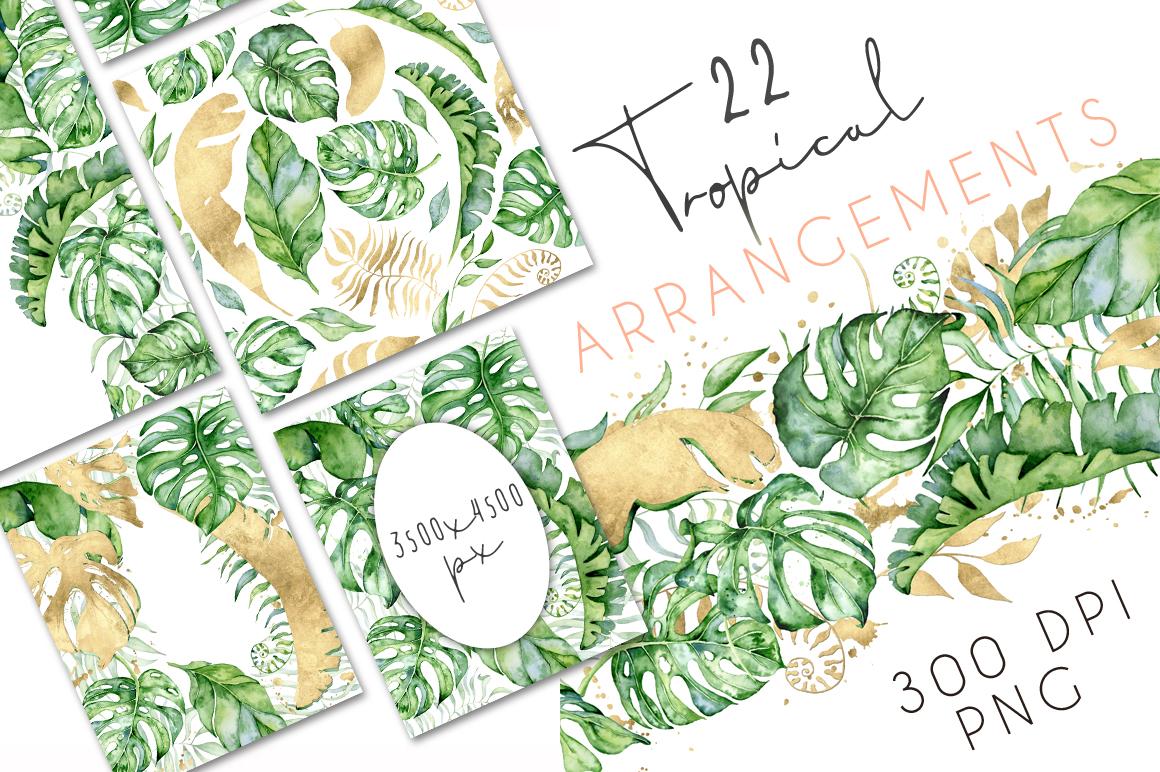 22 Tropical Arrangements watercolor jungle clipart.