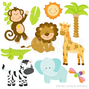 Safari Jungle Animals Cute Digital Clipart, Jungle Clip Art.