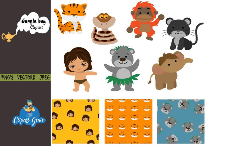 The Jungle Book, Jungle Animal Clipart, Mowgli clipart, Tarzan clipart,  Monkey clipart, Jungle Book Clipart, George, Jungle book party.