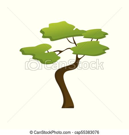 African Isolated Jungle Tree Plant Illustration.