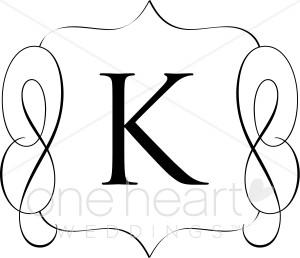 Classic Monogram K Clipart.