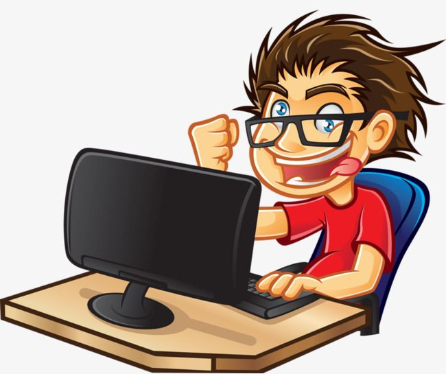 People Who Play Computer, Computer Clipart, People Clipart.