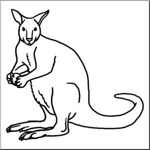 Clip Art: Kangaroo B&W I abcteach.com.
