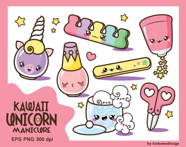 Kawaii clip art, nail polish clipart, kawaii clipart, cute nail polish clip  art, manicure clip art, spa clip art, Commercial.