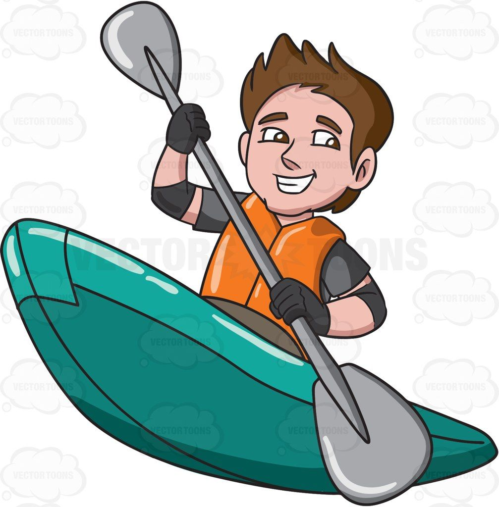 A man enjoying his time in a kayak boat #cartoon #clipart.