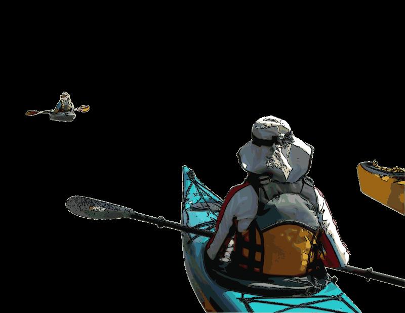 Free Clipart: Kayakers Exploring.