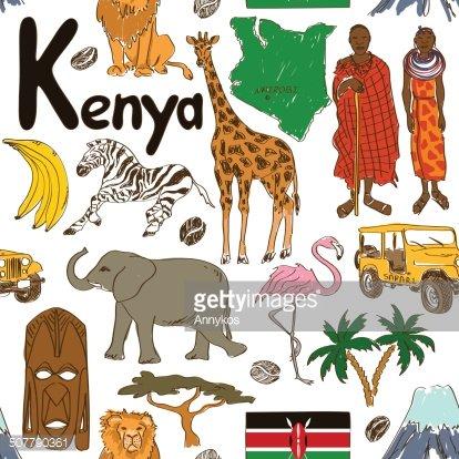 Sketch Kenya seamless pattern Clipart Image.