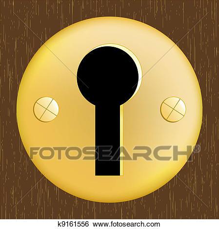 Door keyhole of golden metal Clip Art.
