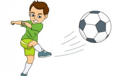 someone kicking soccer ball clipart.