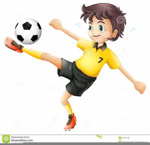 Clipart Footballer Kicking Ball.