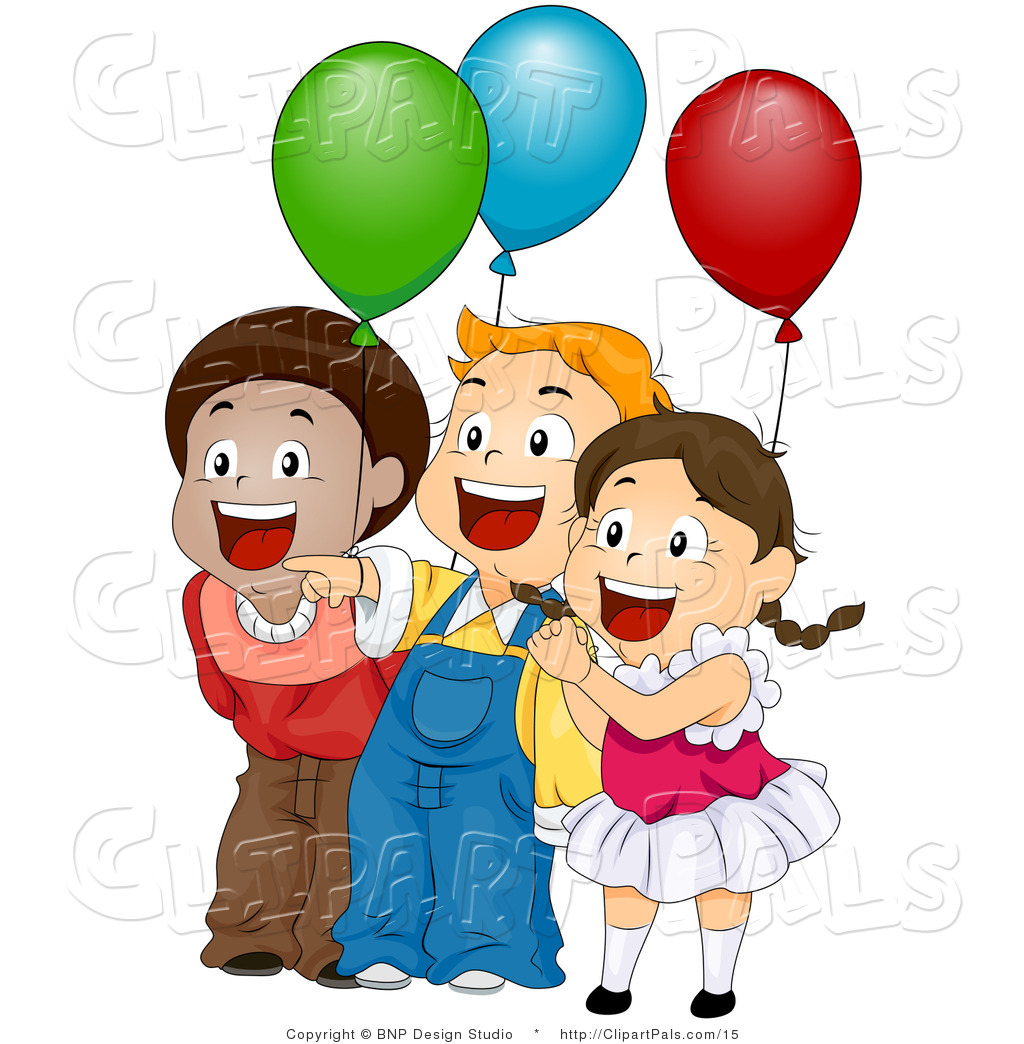 Children With Balloons Clipart.