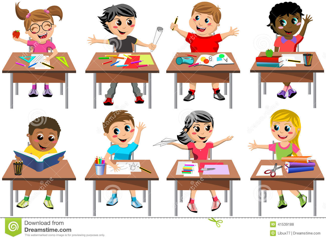 Classroom Kids Background Clipart.
