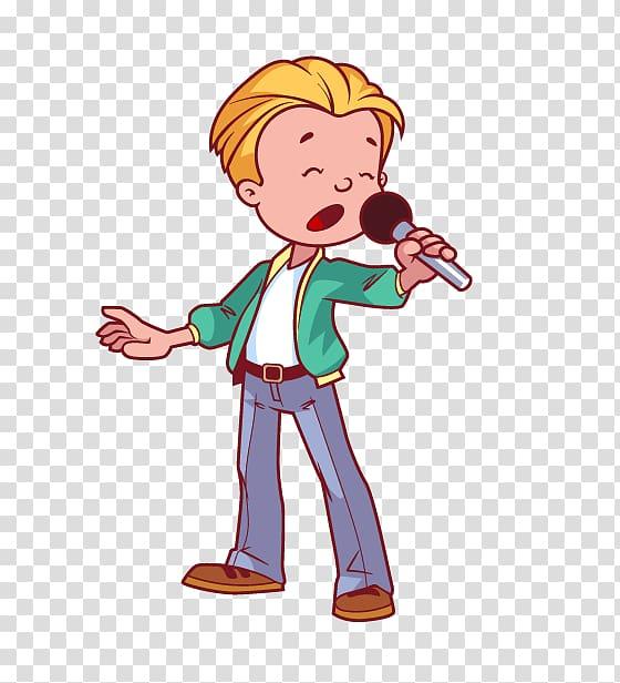 Man illustration, Microphone Singing Cartoon, Singing Boy.