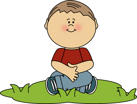 Boy Sitting in Grass Clip Art.