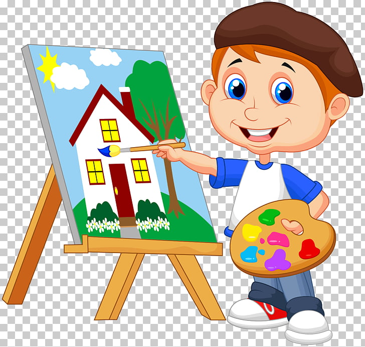 Painting Art Drawing, kids cartoon, boy painting house.