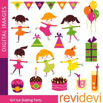 Ice skating party clip art (girl, ice skater, kids, birthday party) clipart.