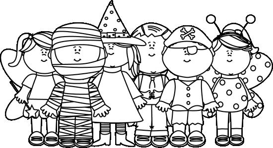 Black and White Halloween Kids.
