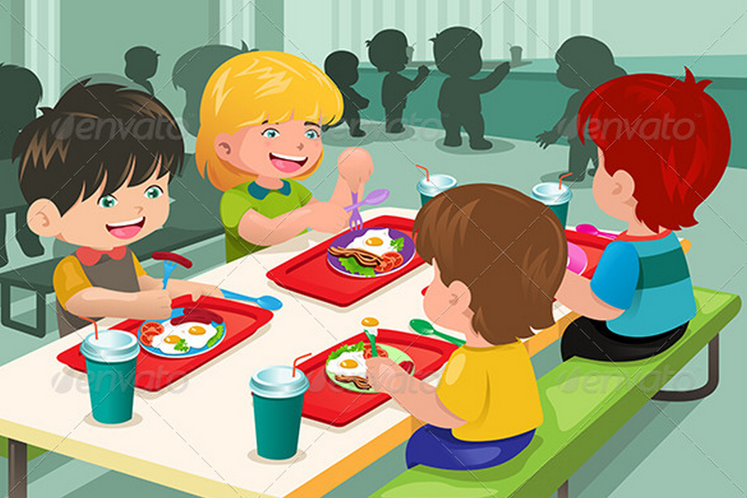 Cartoon kids eating at lunch table.
