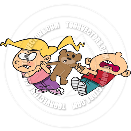 Cartoon Kids Fighting Over Teddy Bear by Ron Leishman.