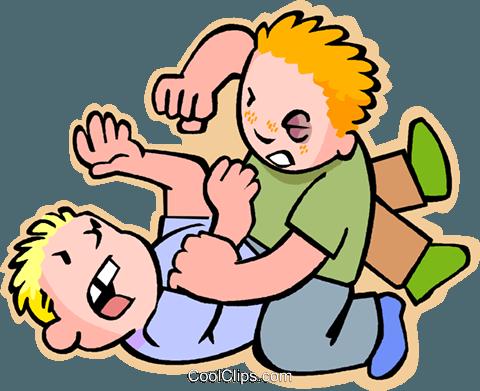 Kids fighting Royalty Free Vector Clip Art illustration.