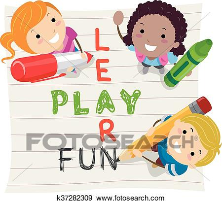 Stickman Kids Learn Play Fun Clip Art.