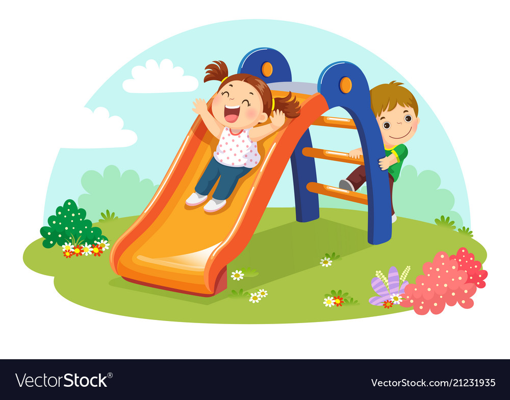 Cute kids having fun on slide in playground.
