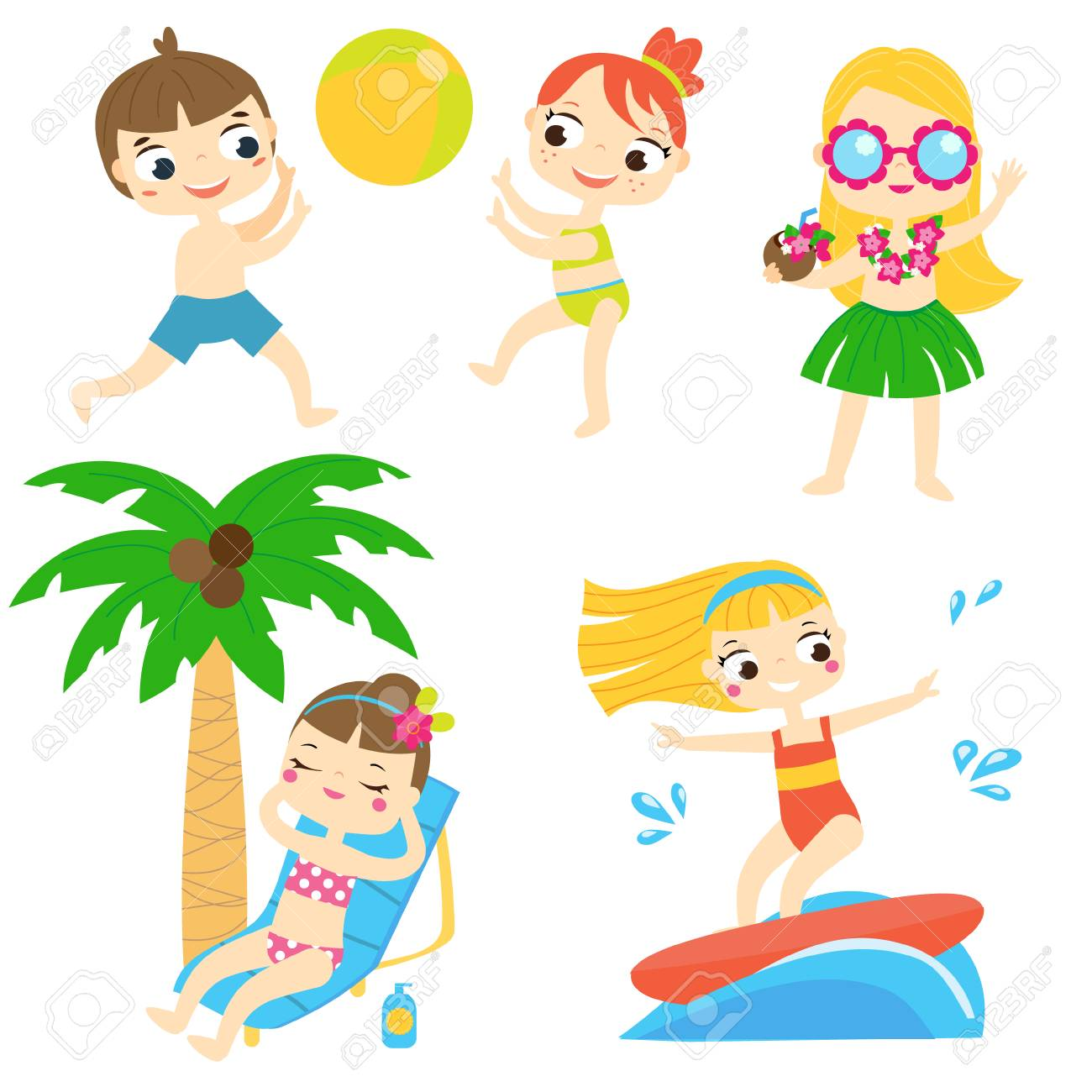 Cartoon kids having beach fun. Children enjoy summer holidays...