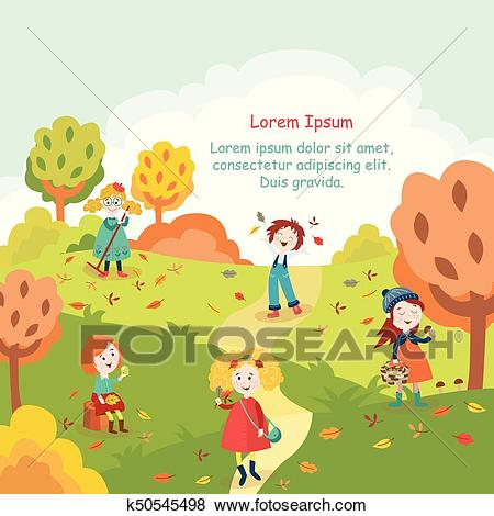 Kids, children having fun in fall, autumn park Clip Art.