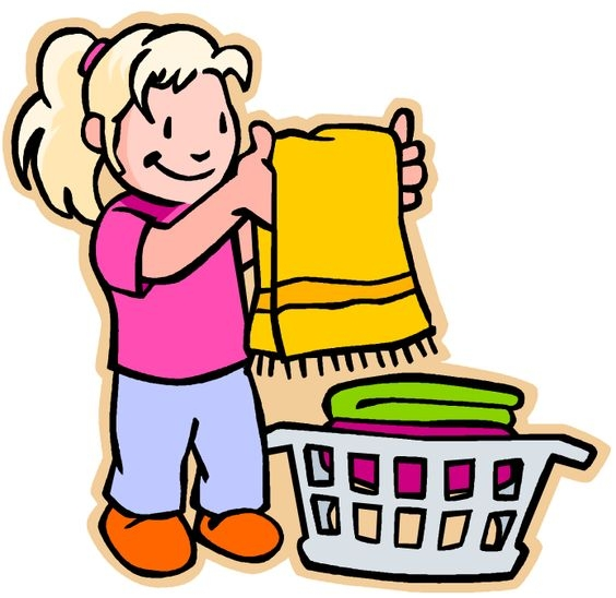 Children Helping Parents In Cleaning House Clipart.