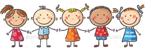 Five little kids holding hands.