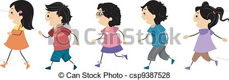Vector of Walking Kids.