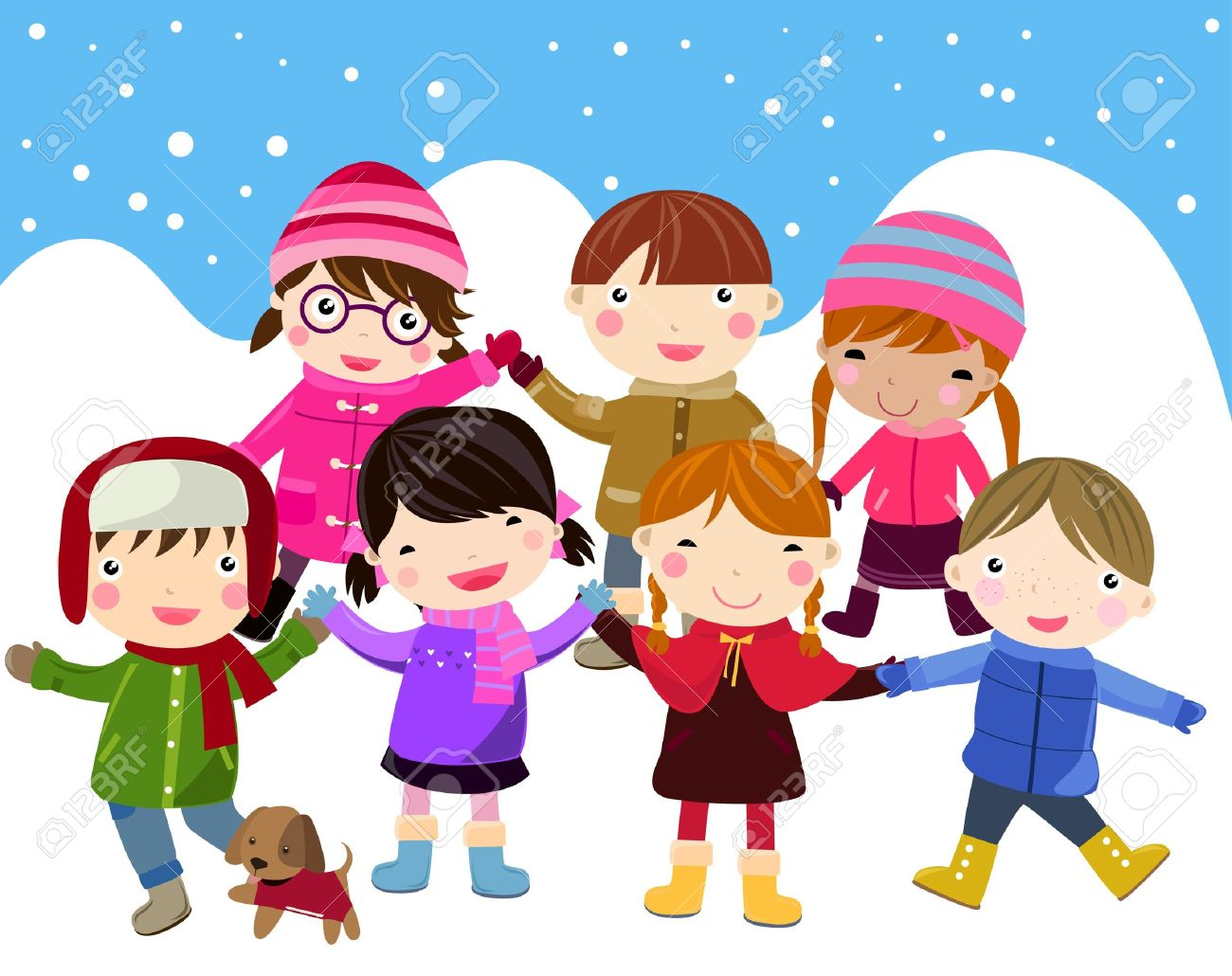 Kids In The Snow Clipart.