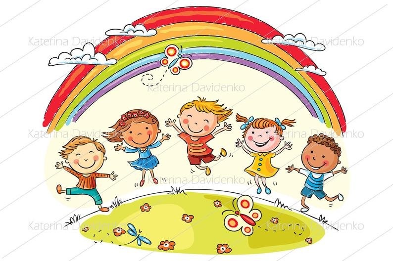 Happy kids jumping with joy, clipart set, vector illustrations, kids clip  art, svg and png files, kids svg, image svg, commercial use.