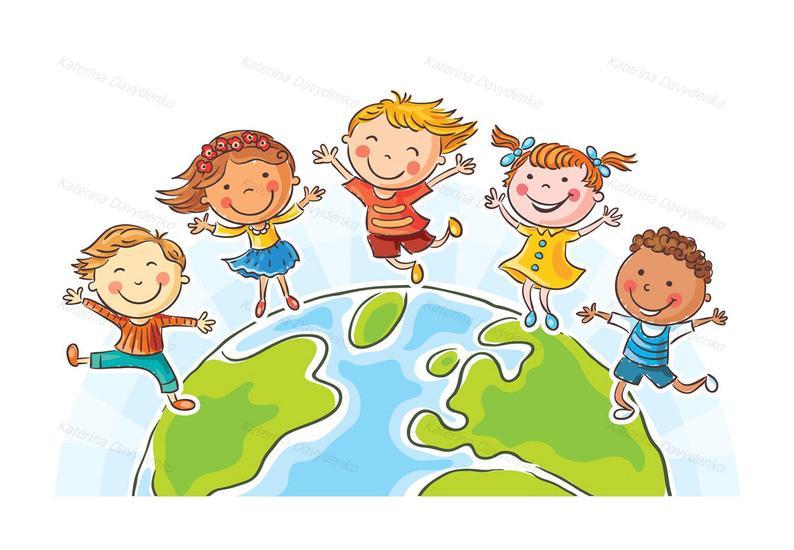 Happy jumping kids round the globe. Kids clipart set, Children clipart,  kids clip art, multinational kids, children svg, cartoon kids, earth.